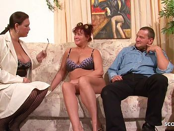 German Mature Teaches old BBW Couple to Fuck and Joins Threesome