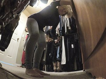 MarieRocks changing clothes in the closet