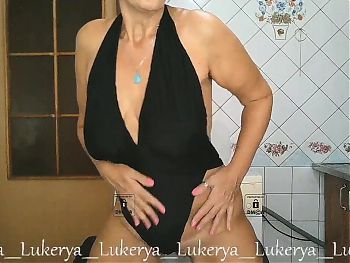 Lukerya on webcam in black