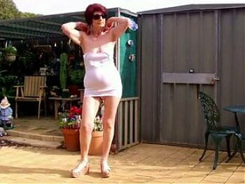 Granny stripping outside