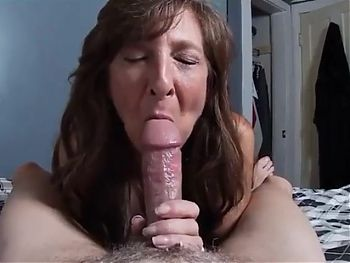 Mom sucks thick cock and swallows cum