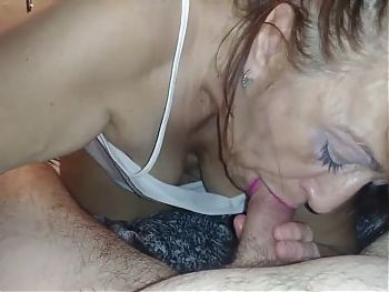 Mature Friend with Lipstick gives Cum in Mouth Blowjob
