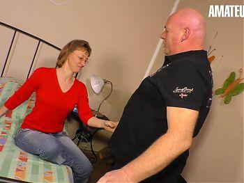 XXX OMAS - Sexy German Cougar Rides Chubby Husband On Cam